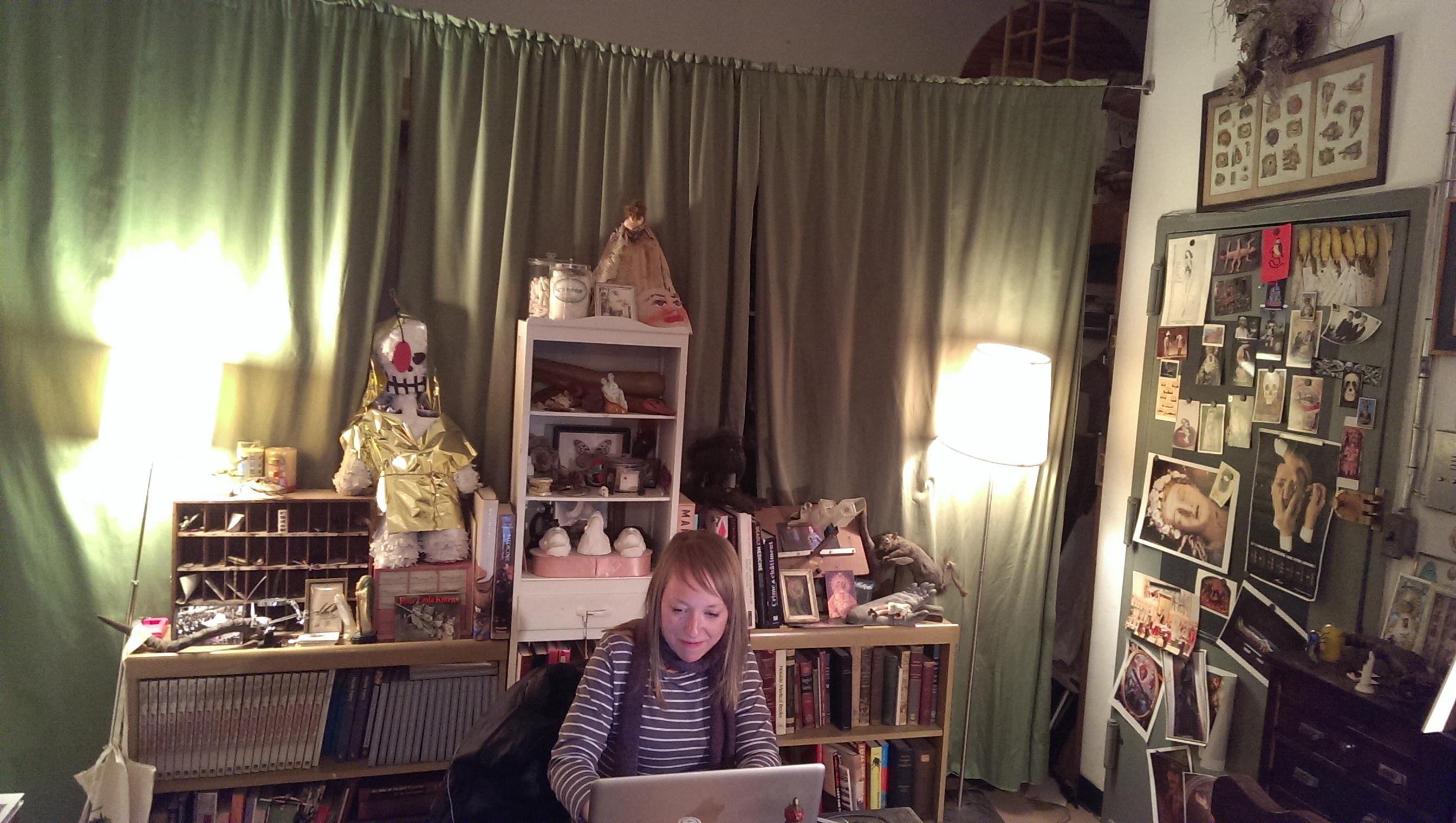 Joanna Ebenstein, founder of Morbid Anatomy, at her desk.