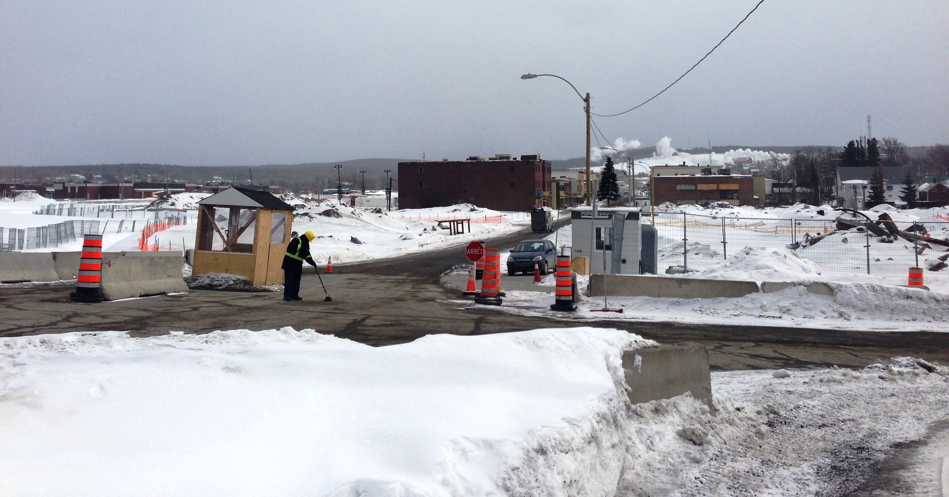 Officials established this checkpoint at the north end of town. The area right beyond the checkpoint used to be buildings and homes.