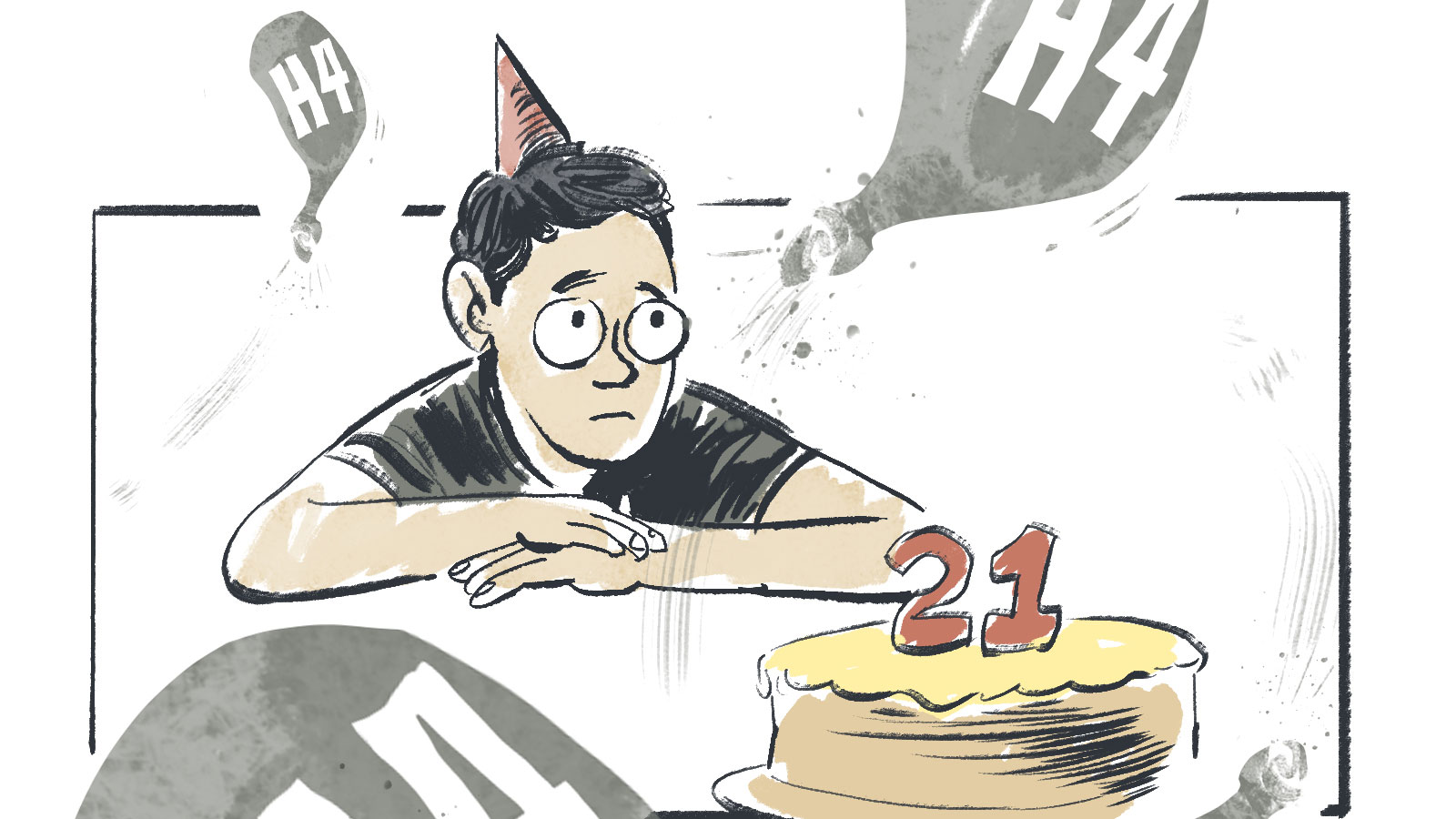 In this cartoon, a frowning boy in a pointed birthday hat sits in front of a cake with '21' written on it.