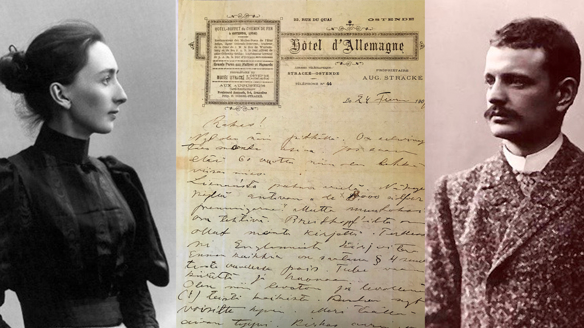 Aino and Jean Sibelius flanking a letter written by Jean to Aino.