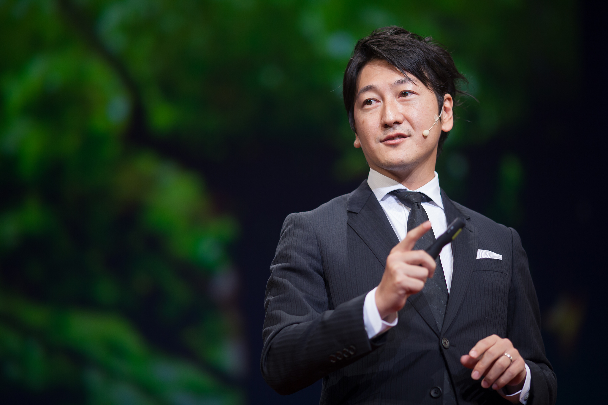 Former NHK anchor Jun Hori speaks at a TEDx event in Kyoto, Japan, about opening Japanese journalism to non-traditional sources.