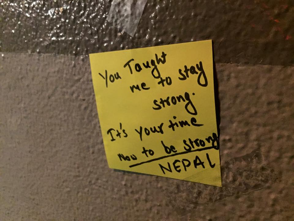 "The note reads, ""You taught me to stay strong. It's your time now to stay strong Nepal."""