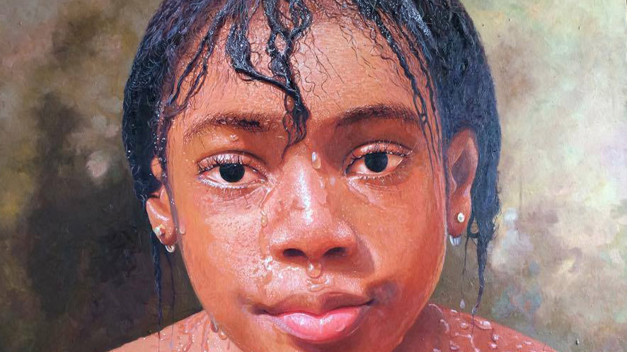 Girl drenched in water