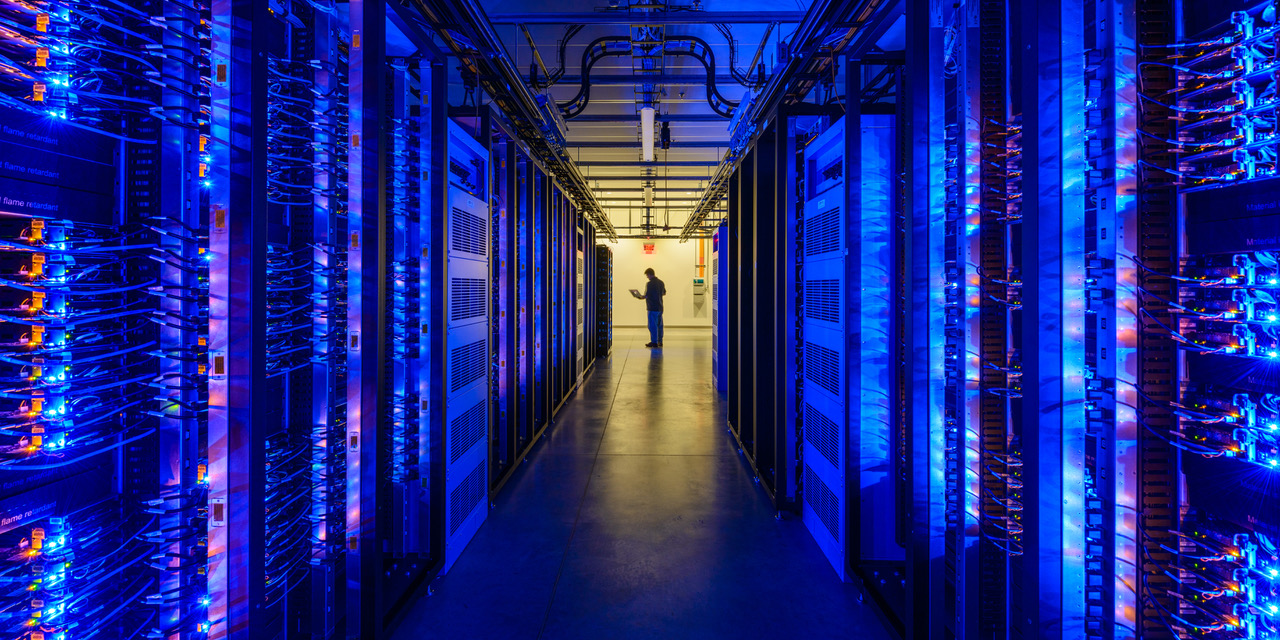 The interior of Facebook's data center in Prineville, Oregon.