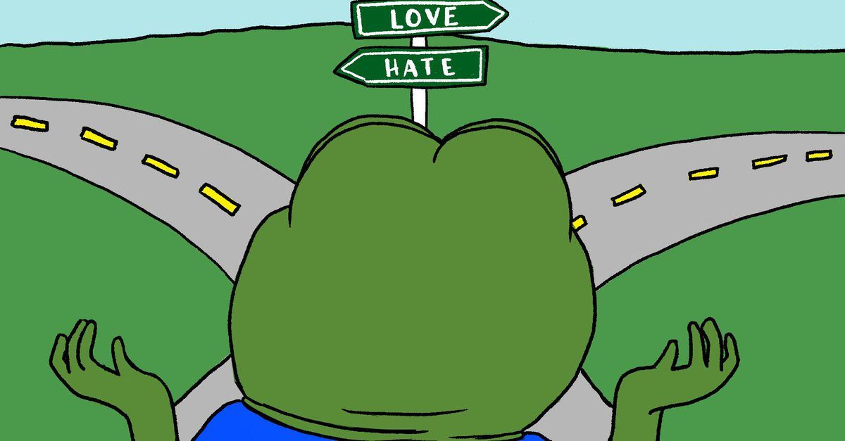 "The meme ""Pepe the Frog"" has become a symbol for the alt-right on the internet."