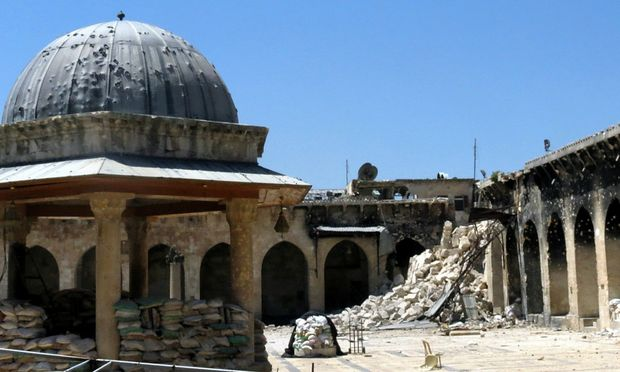 """Aleppo's Umayyad mosque in northern Syria. The 8th century structure is labelled """"in danger"""" on UNESCO's list of culturally significant heritage sites."""