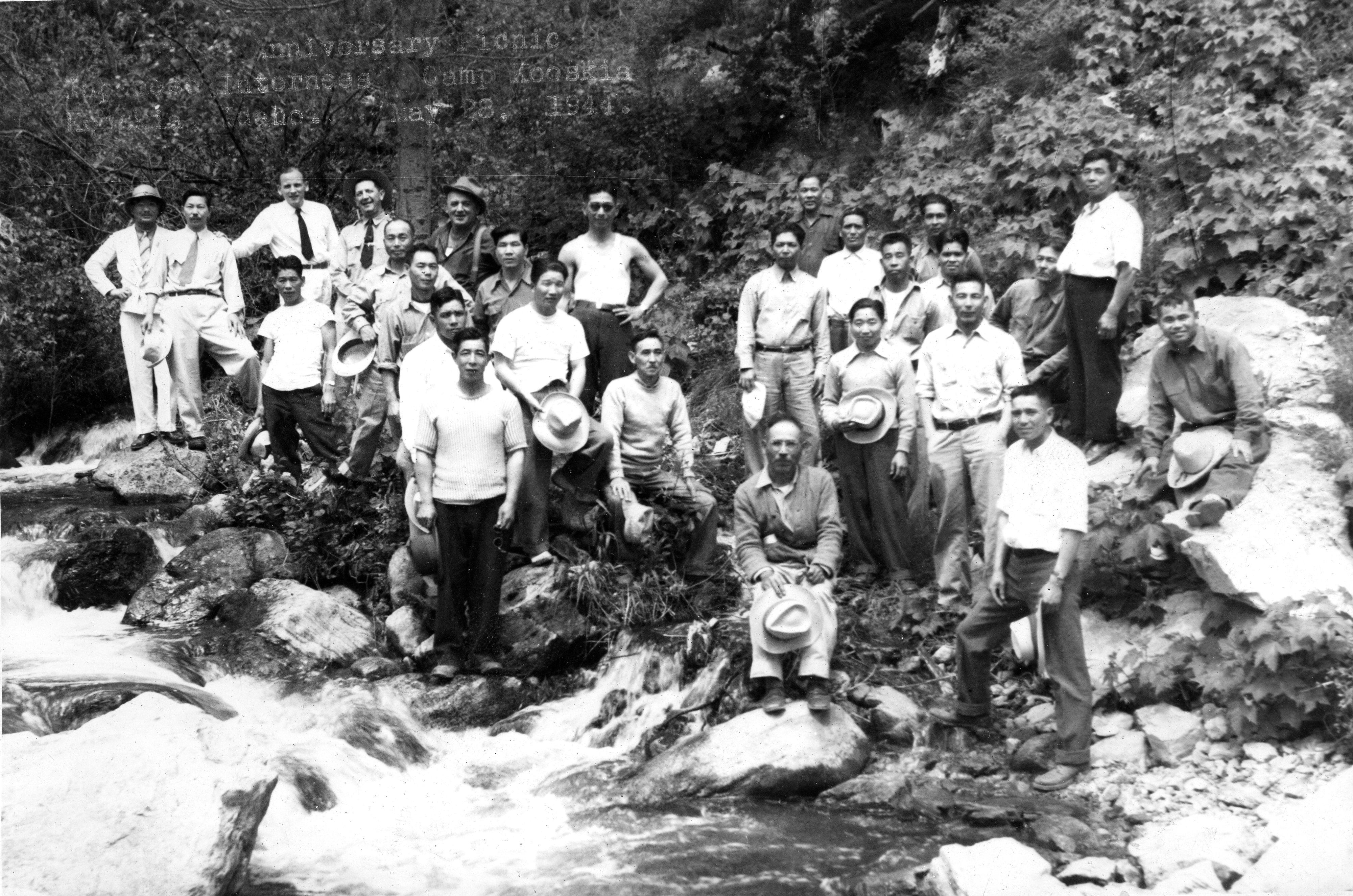 Japanese men at the Kooskia internment camp in northern Idaho during World War II.