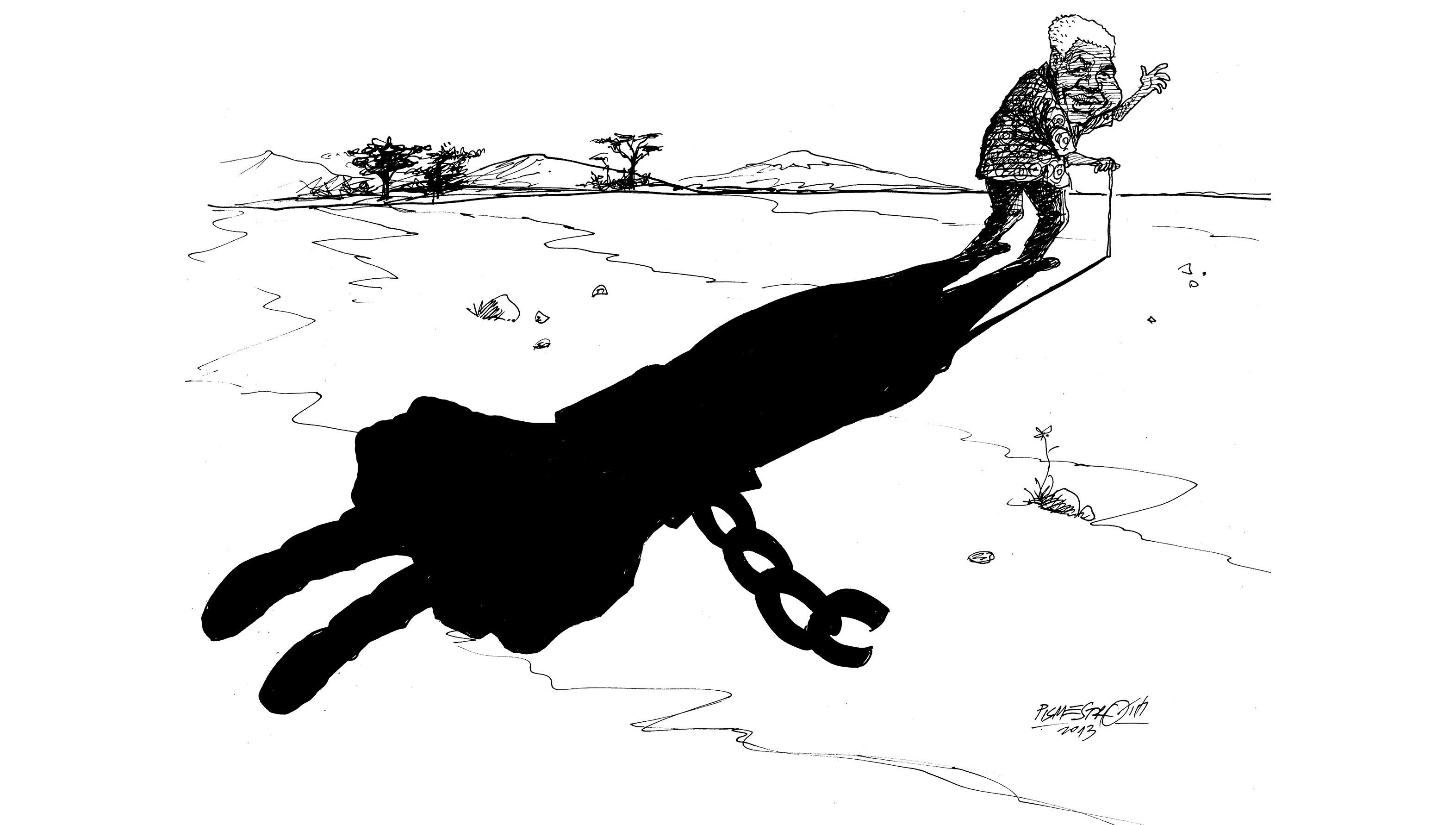 Mandela's shadow cartoon