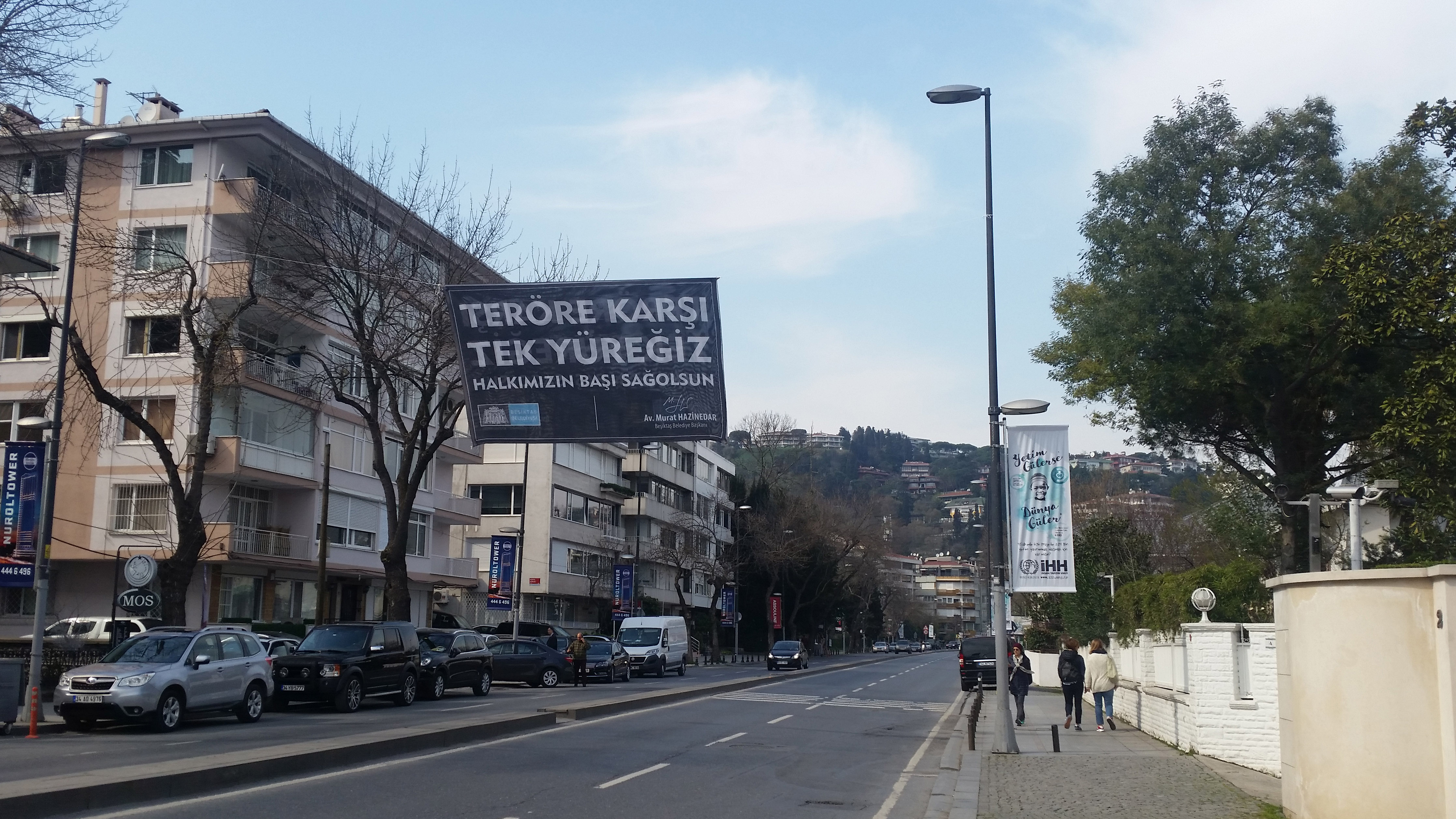 """Banners are hanging all over Istanbul with different messages of unity and anti-terrorism. This one says, """"We are one against terror."""""""