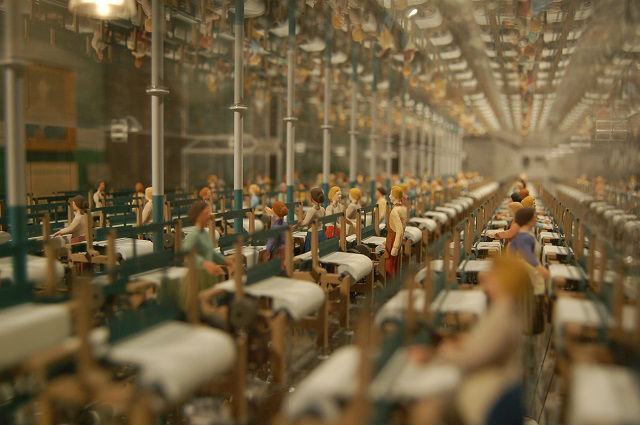 An architectural 3-D model of a cotton mill