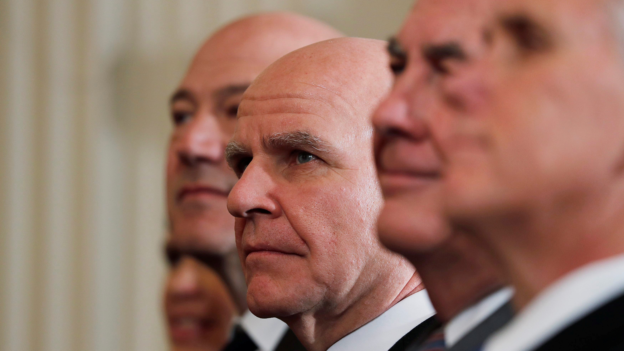 In this close-up shot, former National Security Advisor H.R. McMaster listens as he sits between former White House economic advisor Gary Cohn (L), former Secretary of State Rex Tillerson and Vice President Mike Pence (R).