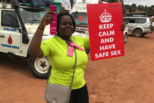 Diana Namumbejja Abwoye promoting condom use on the streets of Kampala
