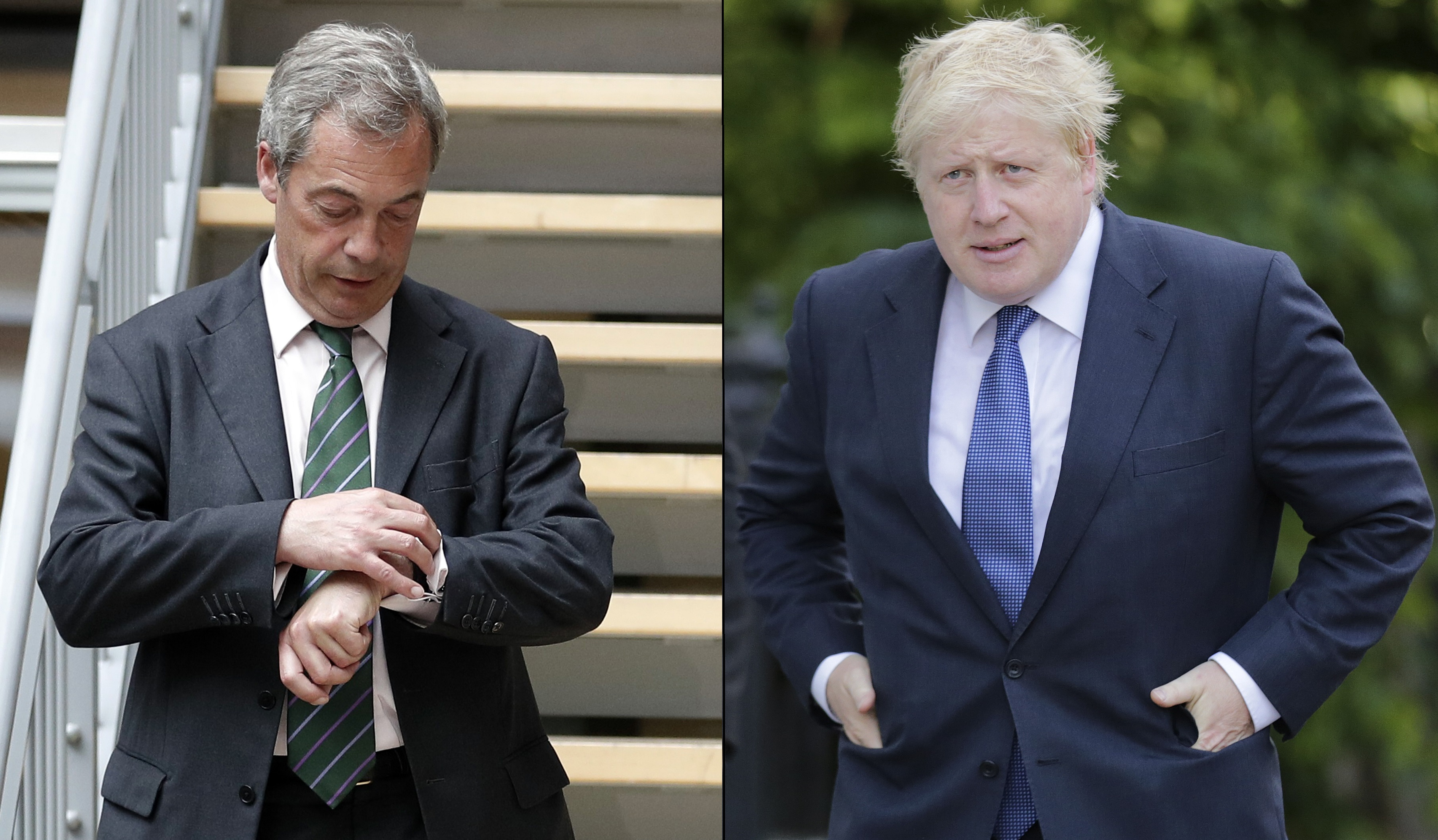 Nigel Farage (left) checks his watch during the first EU Summit in Brussels after the Brexit vote. Boris Johnson (right) leave his home in London. June 28, 2016.