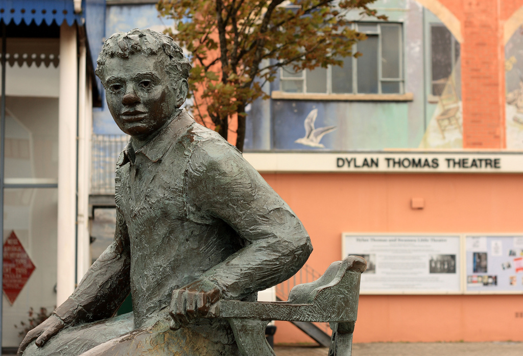 A statue of Welsh poet Dylan Thomas outside the Dylan Thomas Theatre in Swansea, Wales.