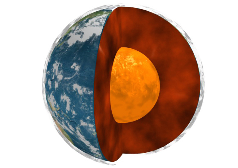 A NASA graphic illustrating the interior of the Earth.