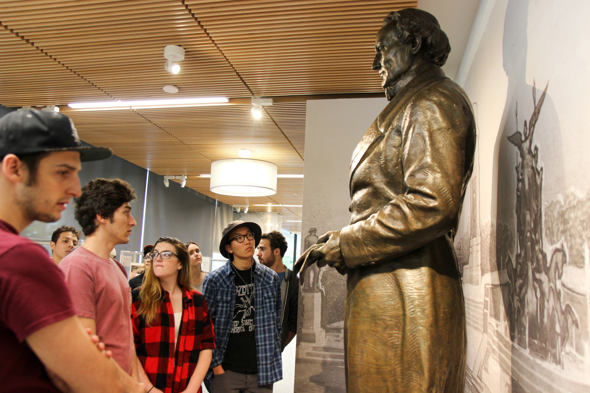 Students at the University of Texas at Austin visit the Jefferson Davis exhibit at the Dolph Briscoe Center for American History.