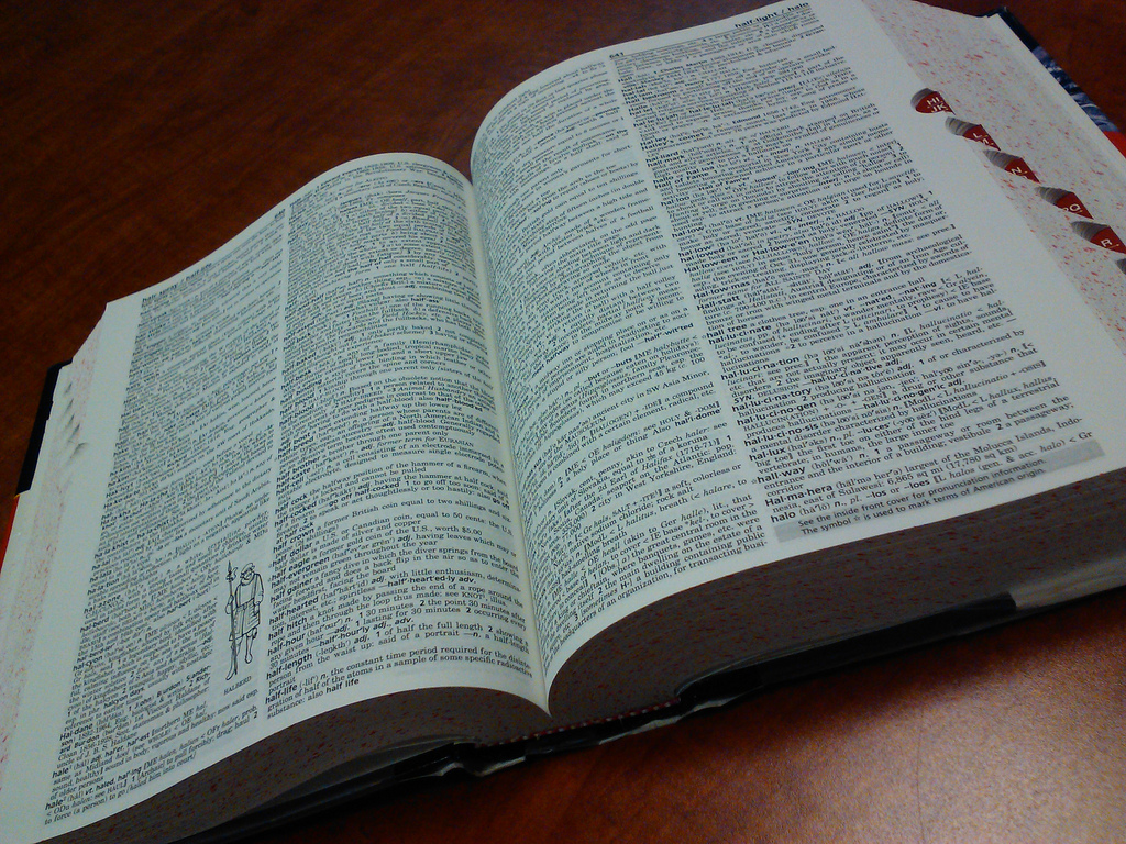 A copy of the Merriam-Webster English dictionary.