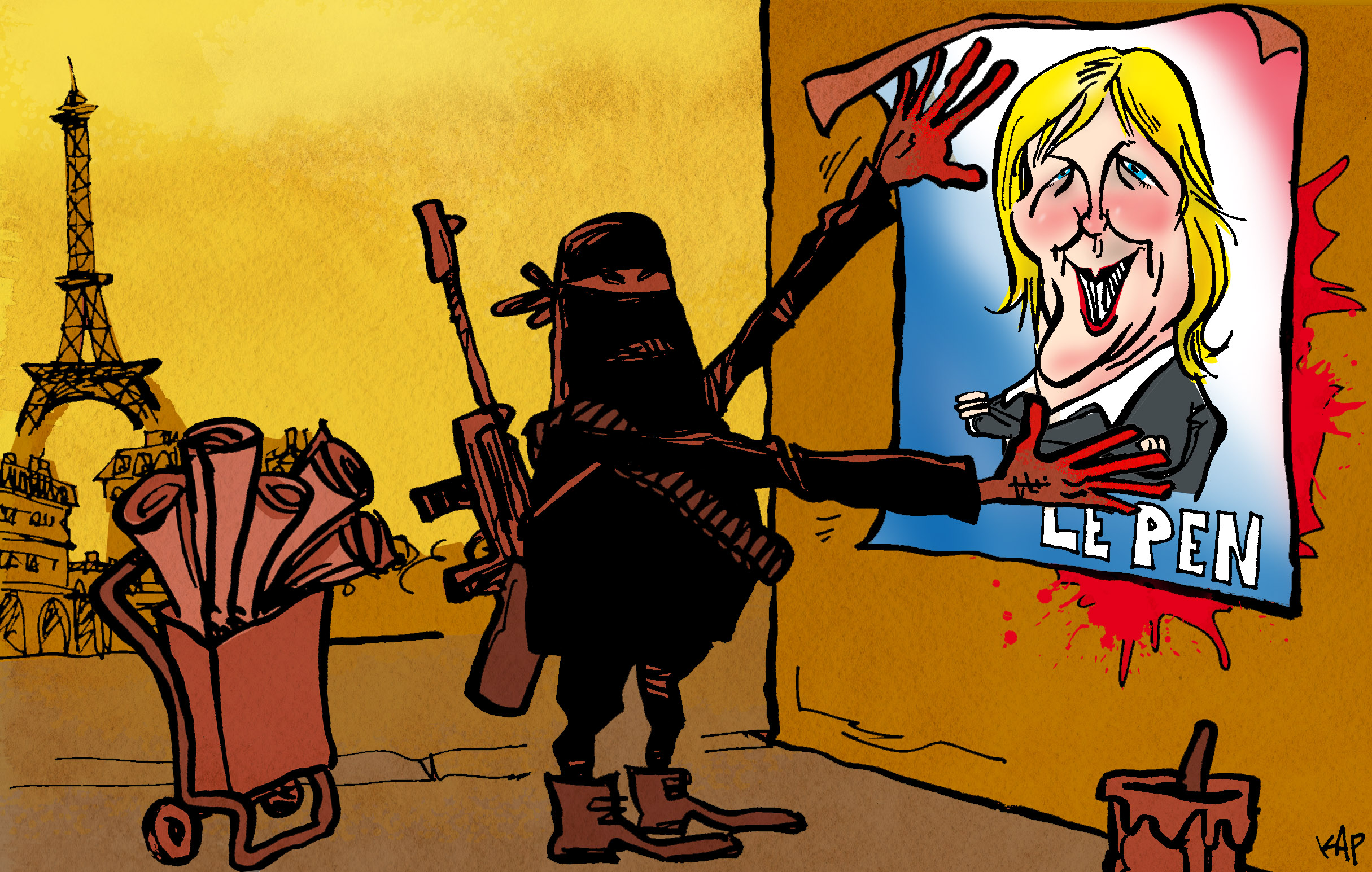 cartoon of ISIS militants putting up Marine LePen poster