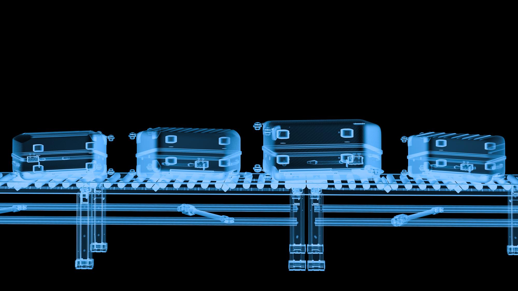 X-ray conveyor belt with luggage.