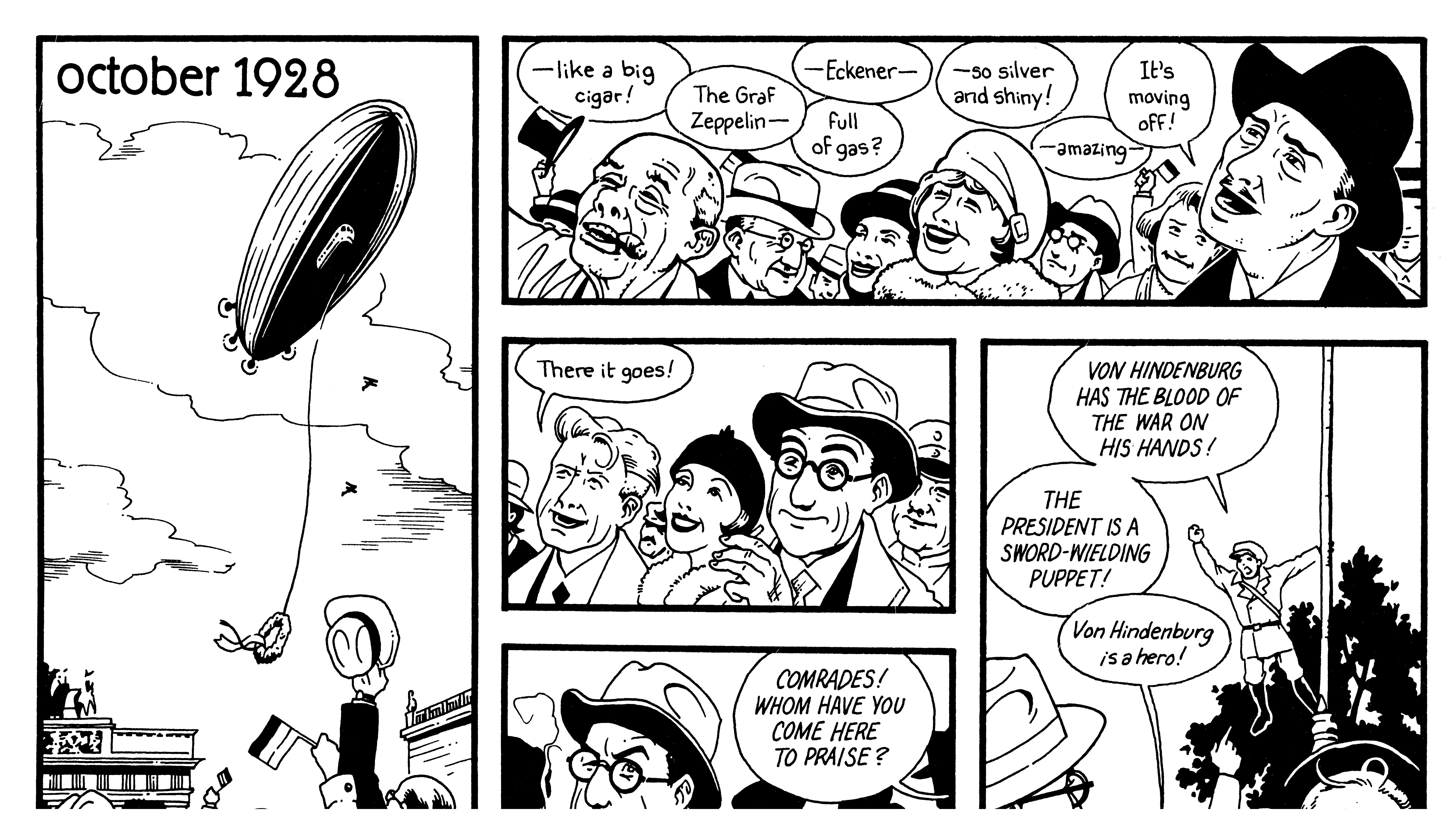 A comic depicting a blimp flight seen by spectators in Germany