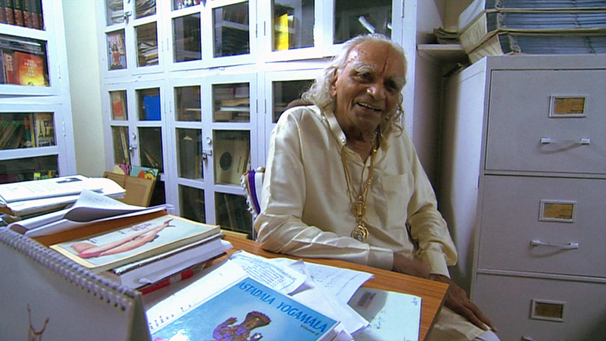 "BKS Iyengar in Pune, India, being interviewed for the documentary ""Enlighten Up""."