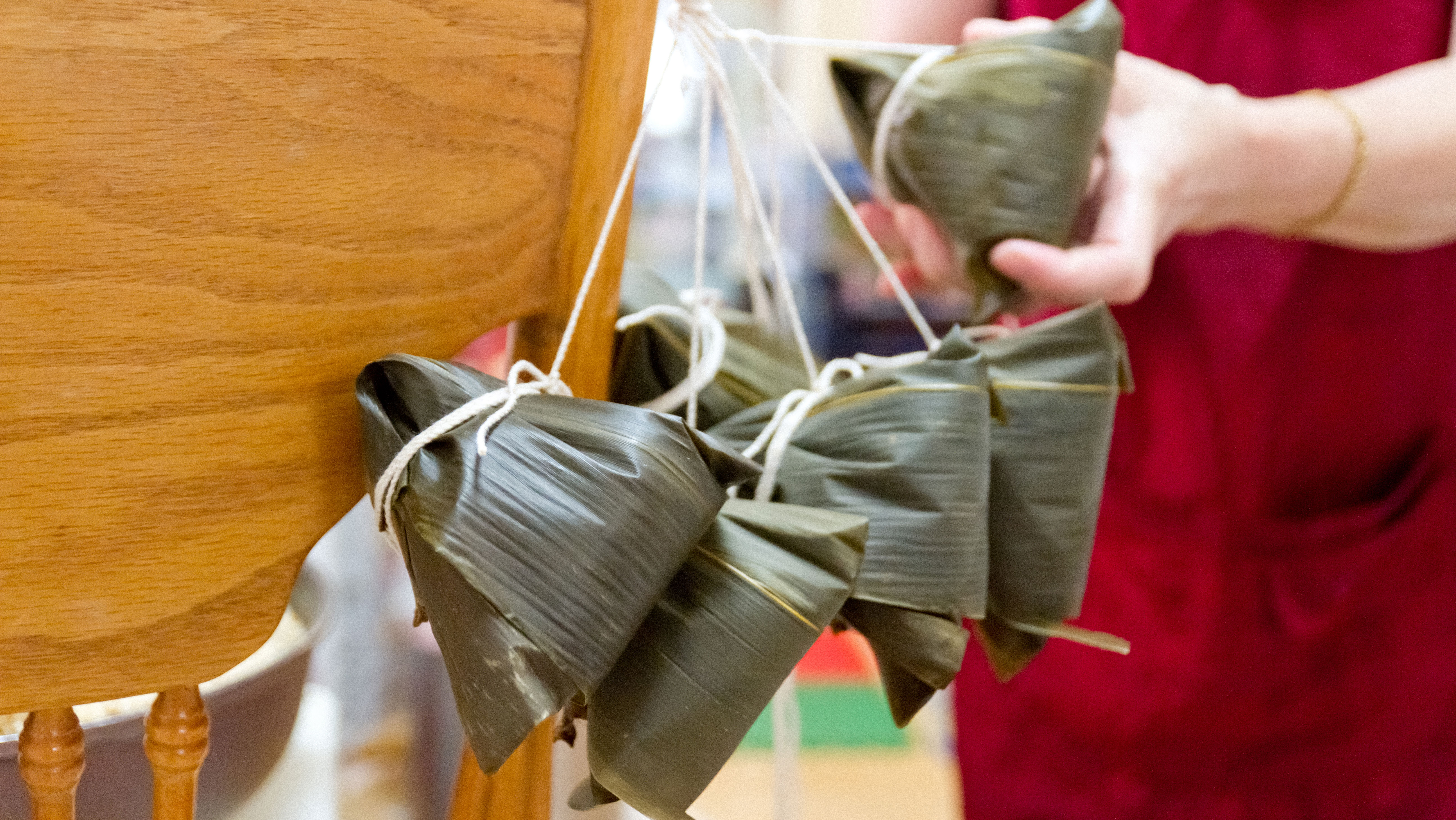 A bundle of leaf-wrapped rice dumplings