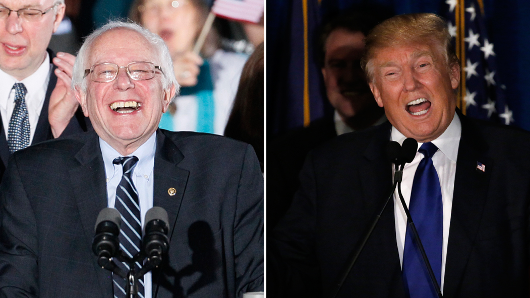 Democratic presidential candidate Bernie Sanders (L) and Republican presidential candidate Donald Trump after winning the 2016 New Hampshire primaries.