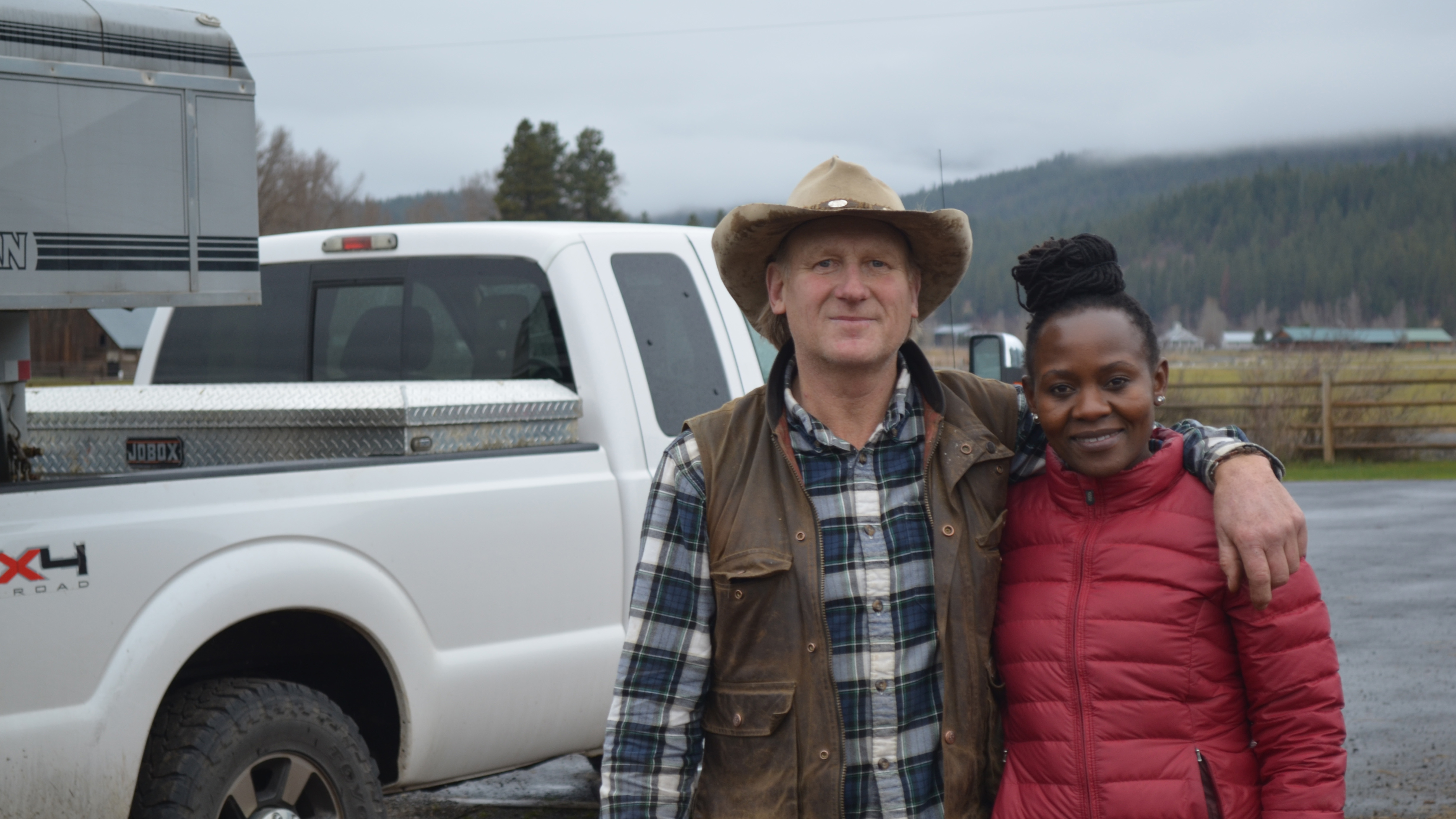Rancher Bill Johnson and wildlife researcher Carol Bogezi on Johnson's ranch in Washington's Teanaway Valley. Bogezi has been working with Johnson and other ranchers in eastern Washington to try to find a way to help them live more amicably with wolves.