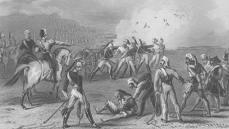 Indian rebels being executed by cannon, September 8th 1857