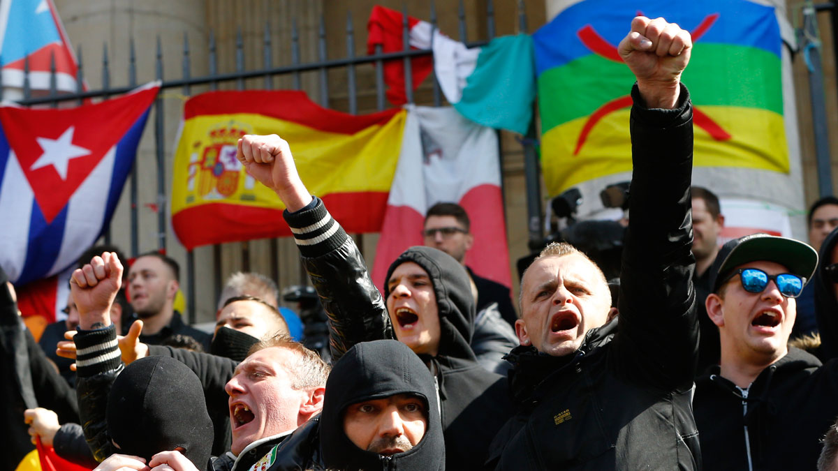 Right-wing demonstrators protest against terrorism in front of the old stock exchange in Brussels, Belgium, March 27. 2016.