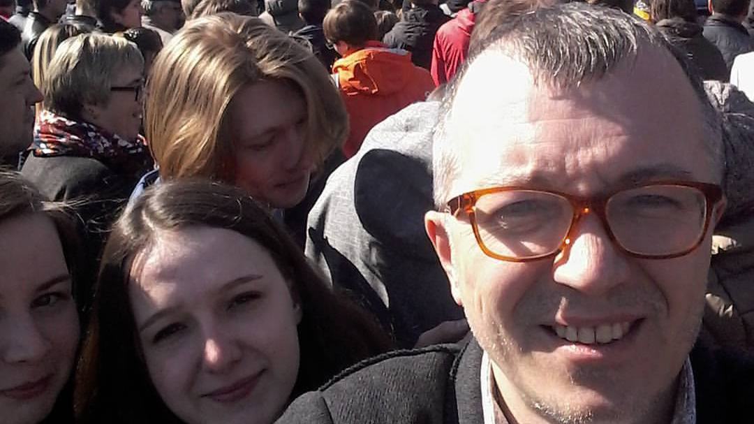 Alexey Petrov at the March protest in Irkutsk. The scene reminded him of his own generation 20 yrs ago — before Russians his age became jaded about politics.