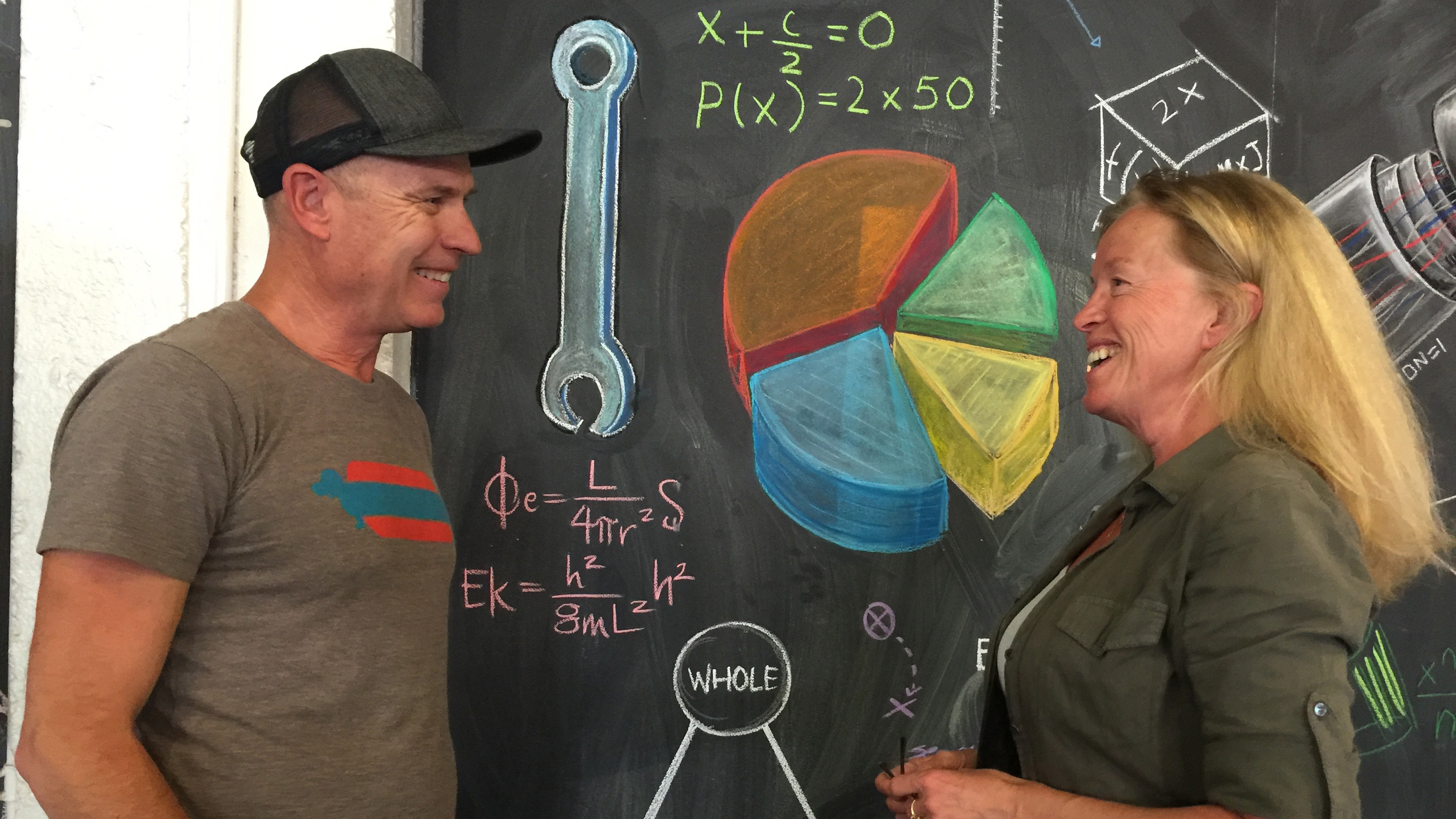 Explorers Tom and Tina Sjogren stand in front of a blackboard at a makers space.