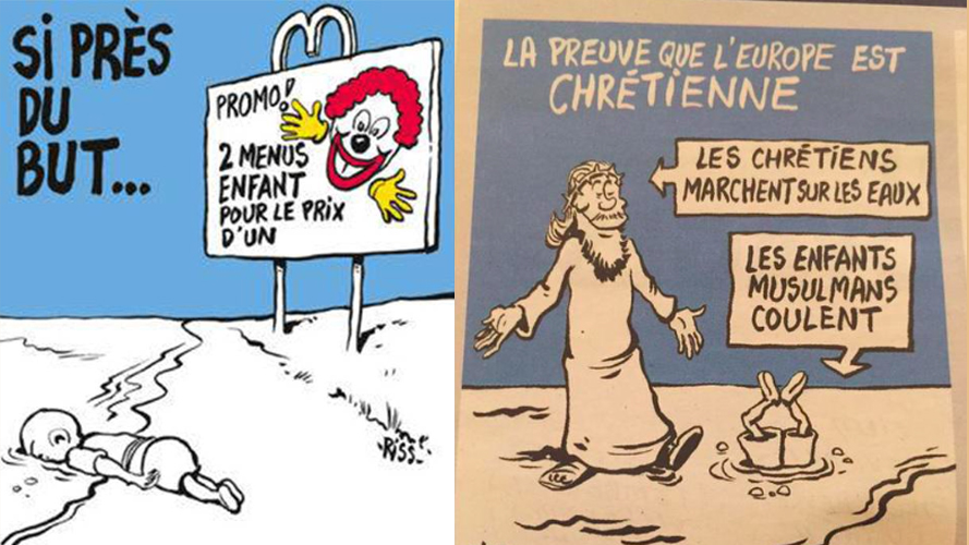 Two of the rejected covers that French magazine the Charlie Hebdo instead placed at the back of the issue.