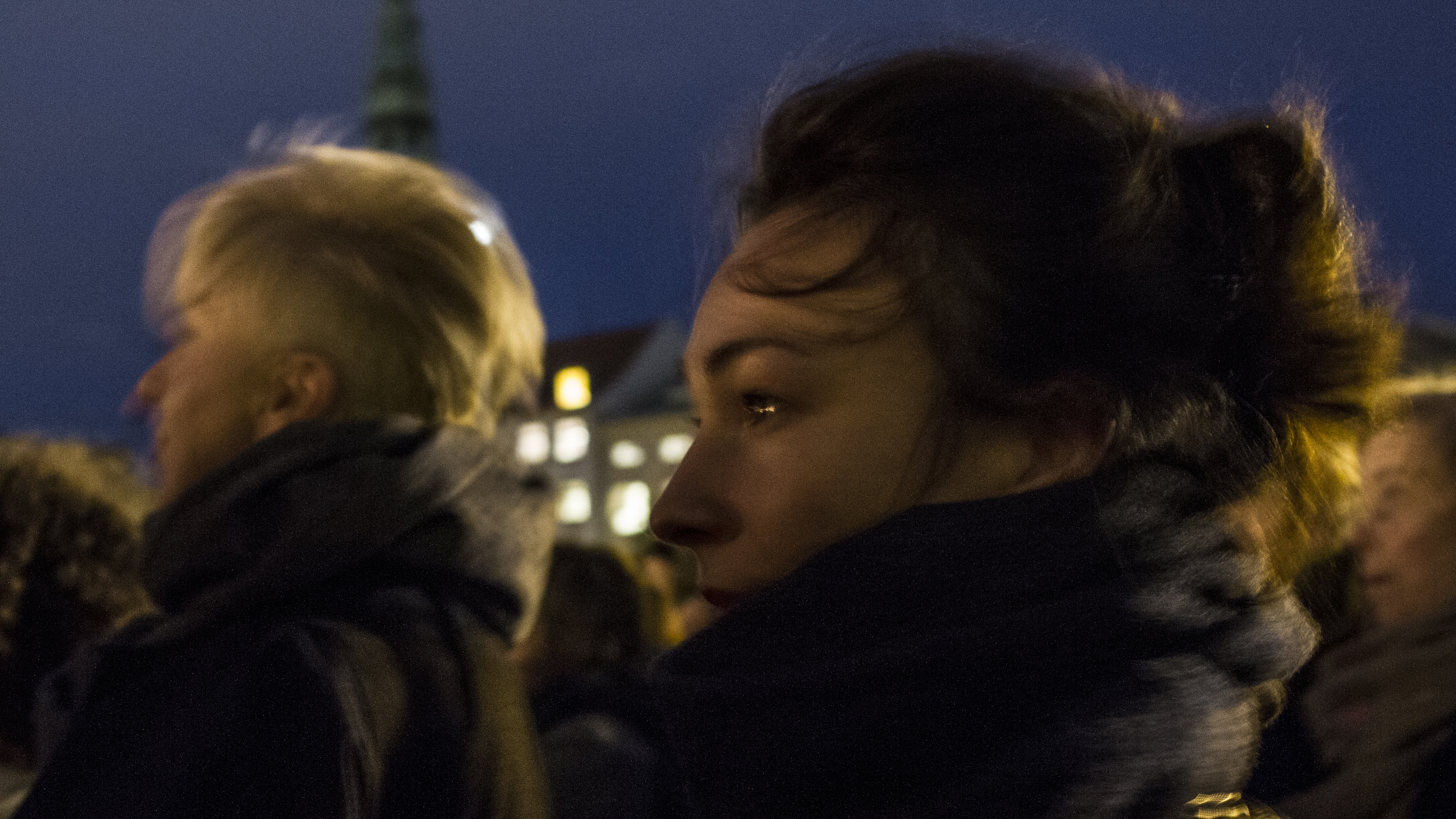 Sanja Golubovic (r) and her friend Branka Saric (l) at a rally demanding the Danish government accept more refugees and migrants. Both came to Denmark as refugees from Bosnia.