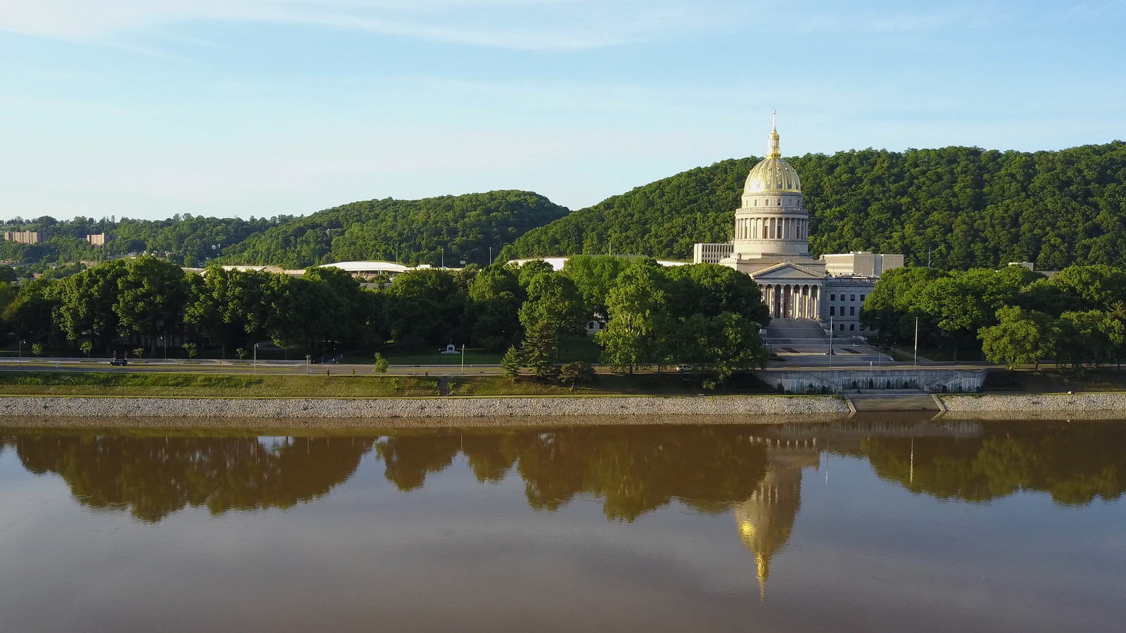 The West Virginia State Capitol building in Charleston sits on the Kanawha River, which is fed in part by the Elk River — the main water supply for nearly 300,000 of the state's residents.