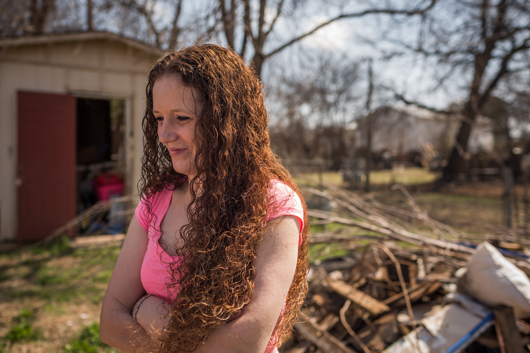 Cherise Greer in the backyard of her home in Duncan, Oklahoma.