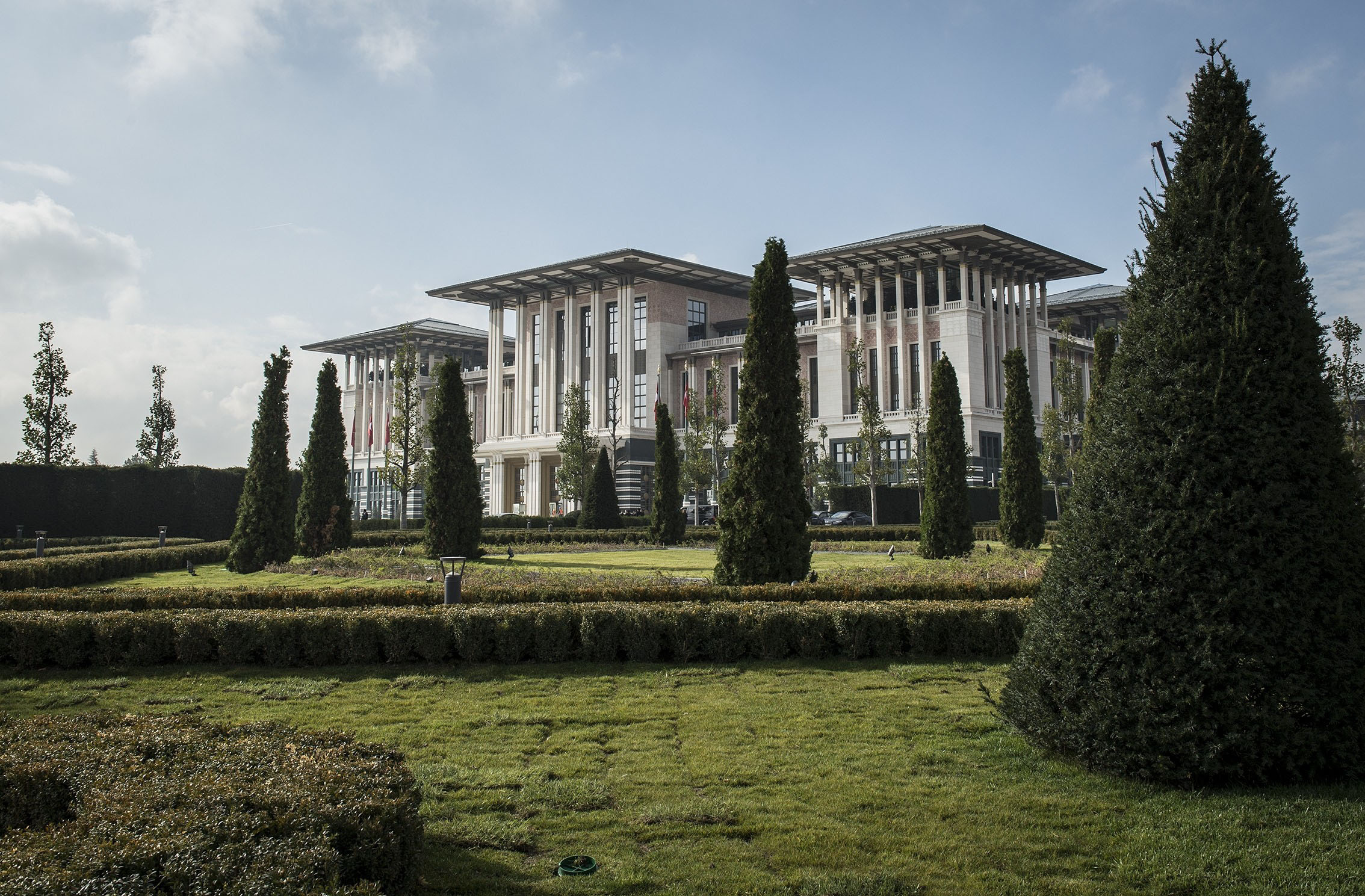 "Exterior view of the ""White Palace"" in Ankara, Turkey."