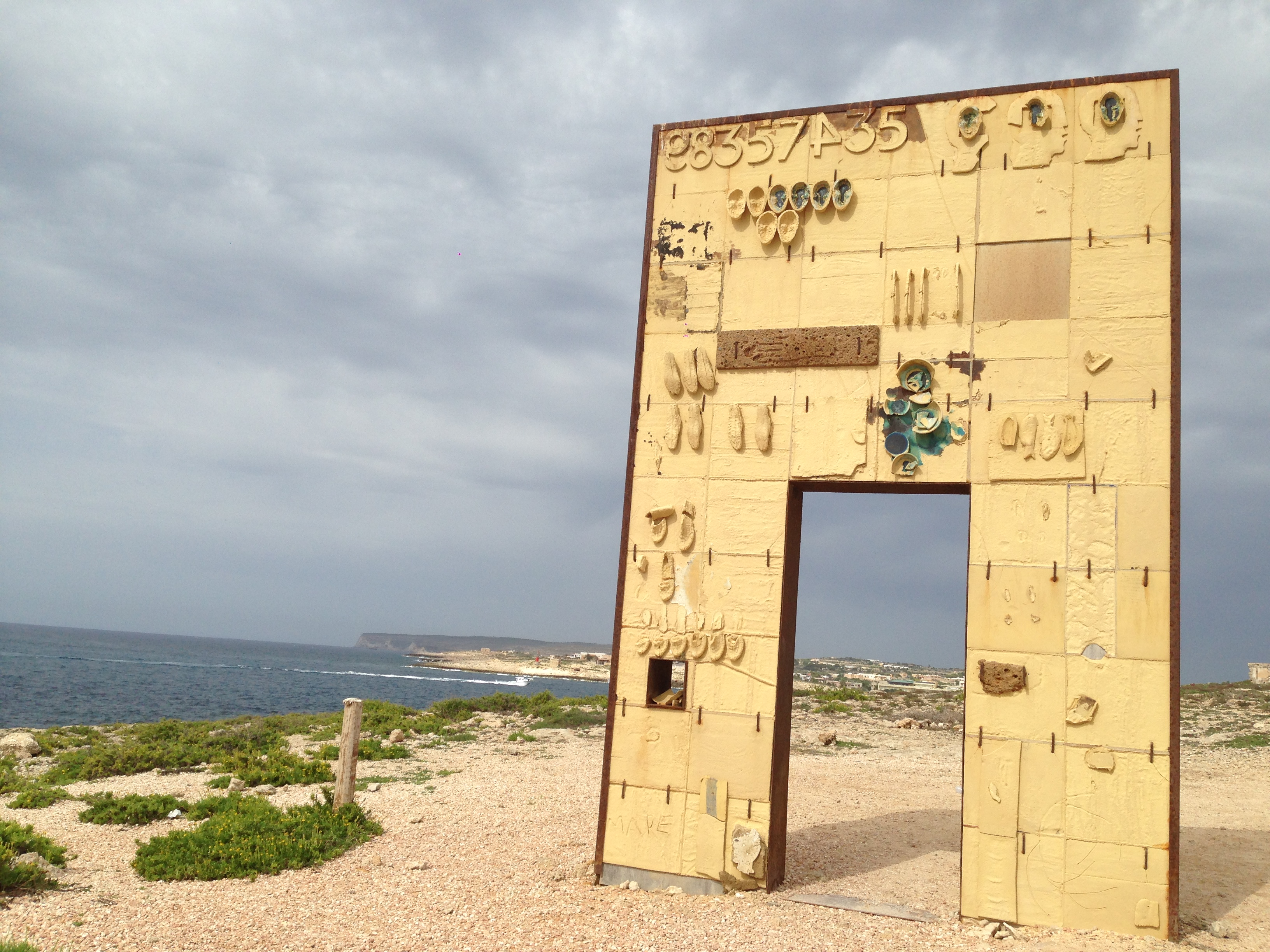 """The Door of Lampedusa, Door of Europe"" underscores the situation of refugees who arrive on Lampedusa as the entry point to the rest of Europe."