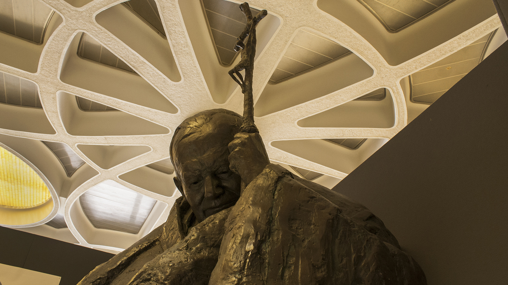 A bronze statue inside the Vatican of the late Pope John Paul II, who died in 2005 and became a saint on April 27, 2014.