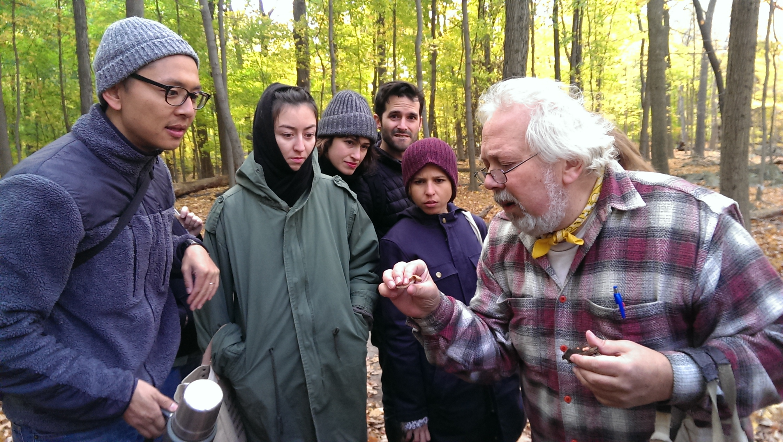 Gary Lincoff, author of The Audubon Society Field Guide to North American Mushrooms, helps my fellow mushrooms hunters identify their finds in the woods of Piermont, NY.