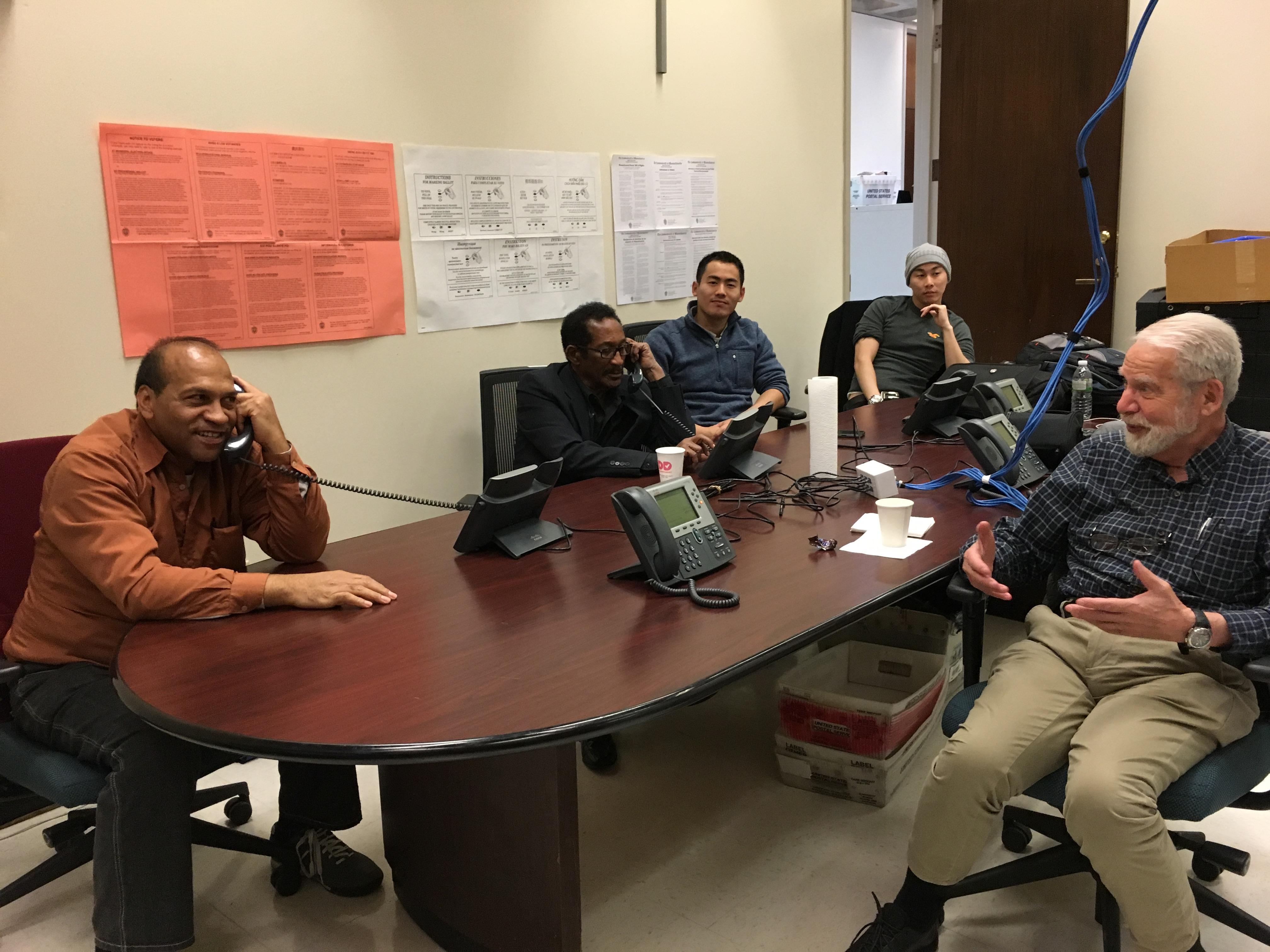 Boston's ballot interpreters work the phones at City Hall.