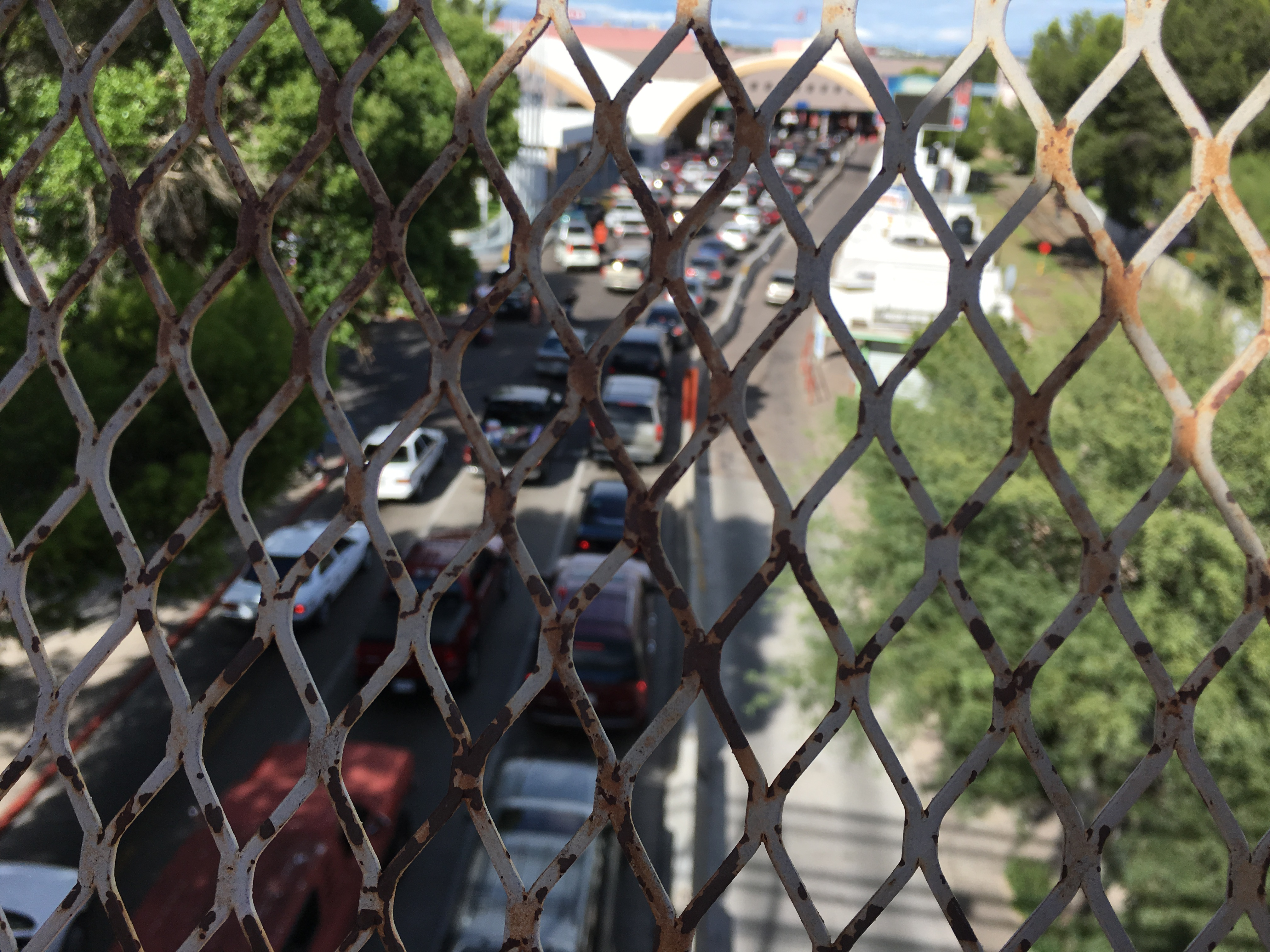 The view from Mexico to the US at the Nogales point of entry.