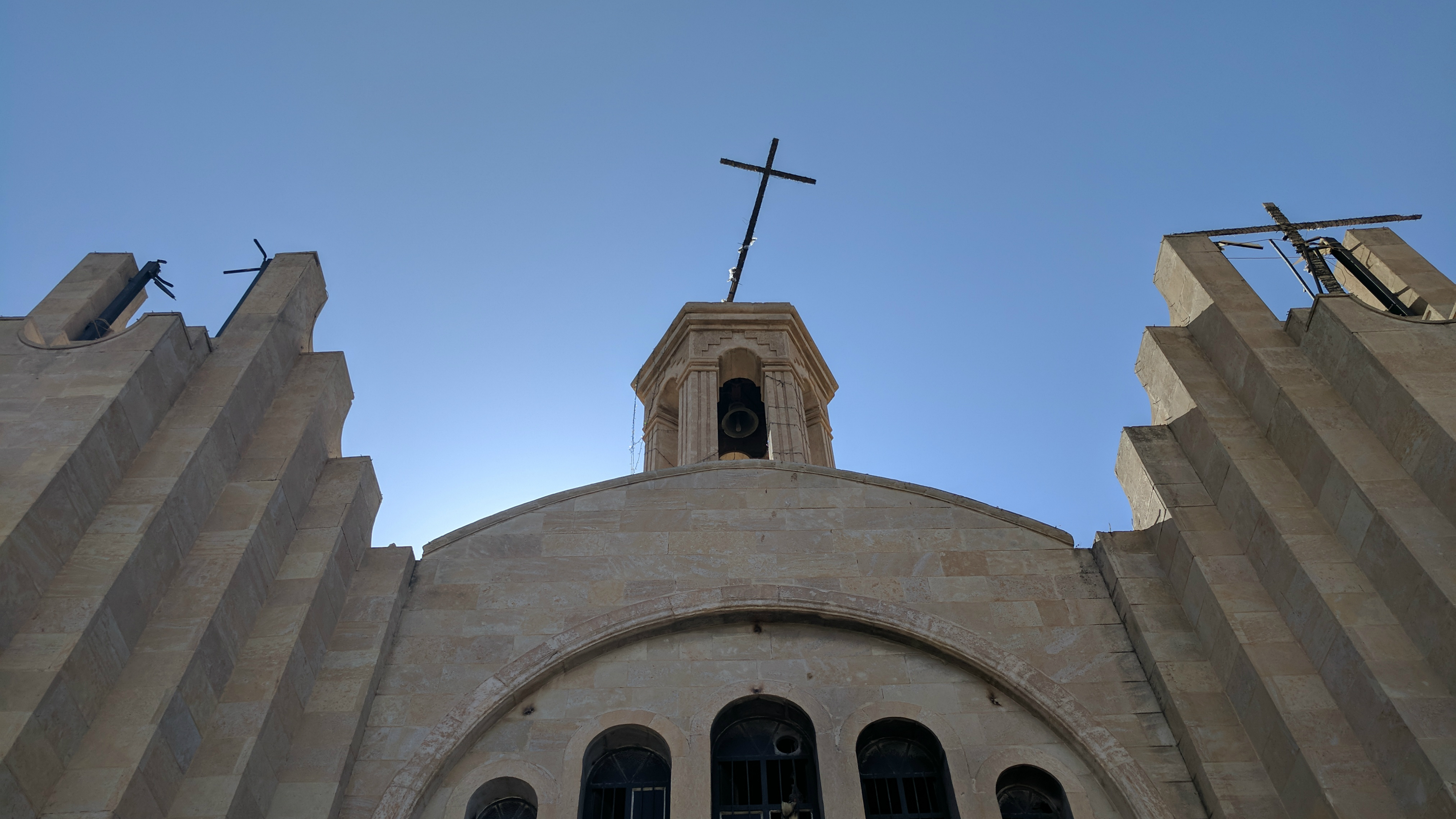 St. Shmuni Church in Bartella, Iraq, shows damage sustained while the town was under ISIS control for two years.