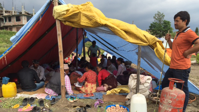 Residents of the village of Khokana, near Kathmandu, are living in tents after many of their homes collapsed in the earthquake of April 25, 2015.
