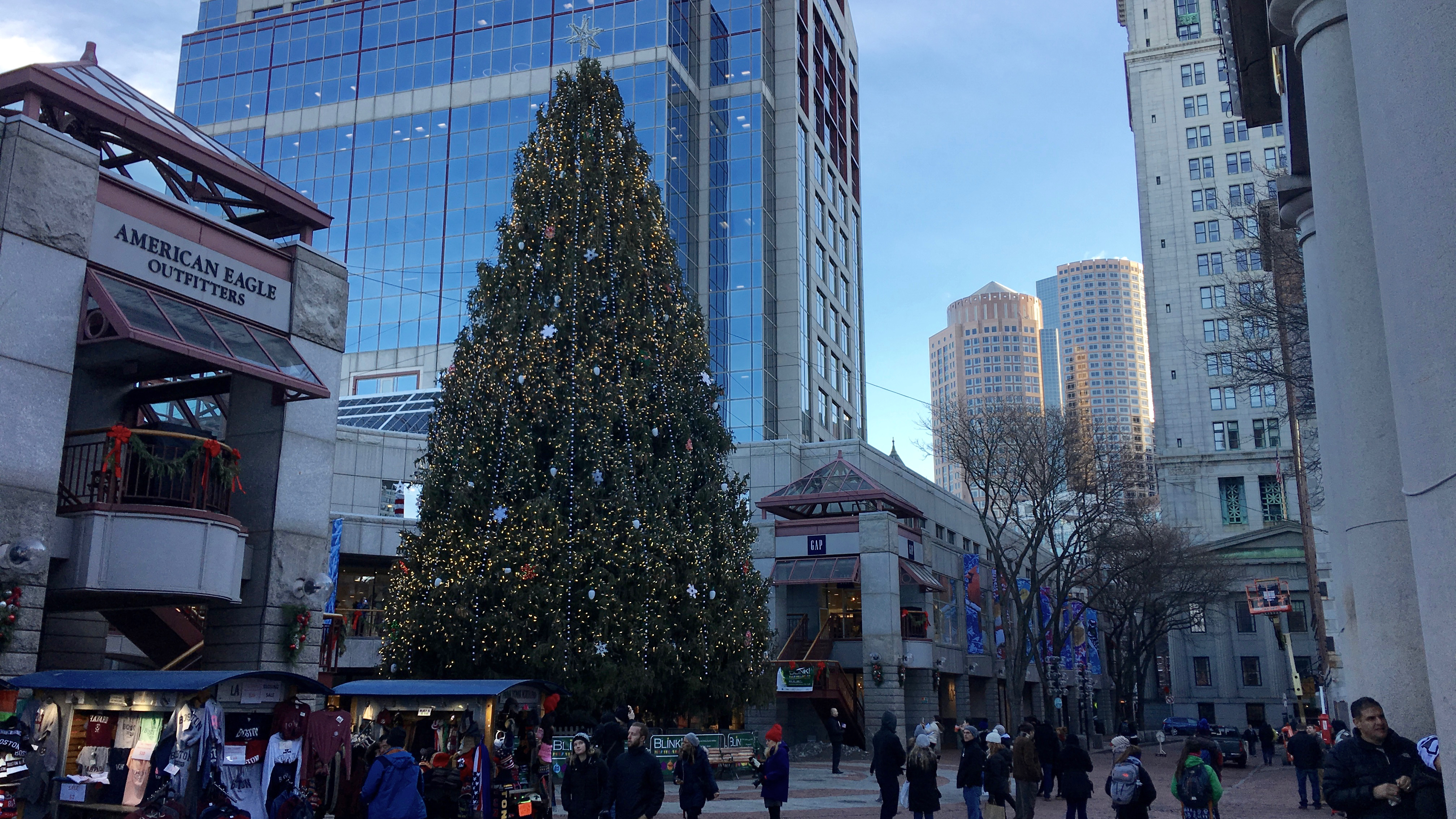 The Christmas tree at Faneuil Hall marketplace in downtown Boston is from Long Island, New York. But is it a religious symbol? Many people say, not really.