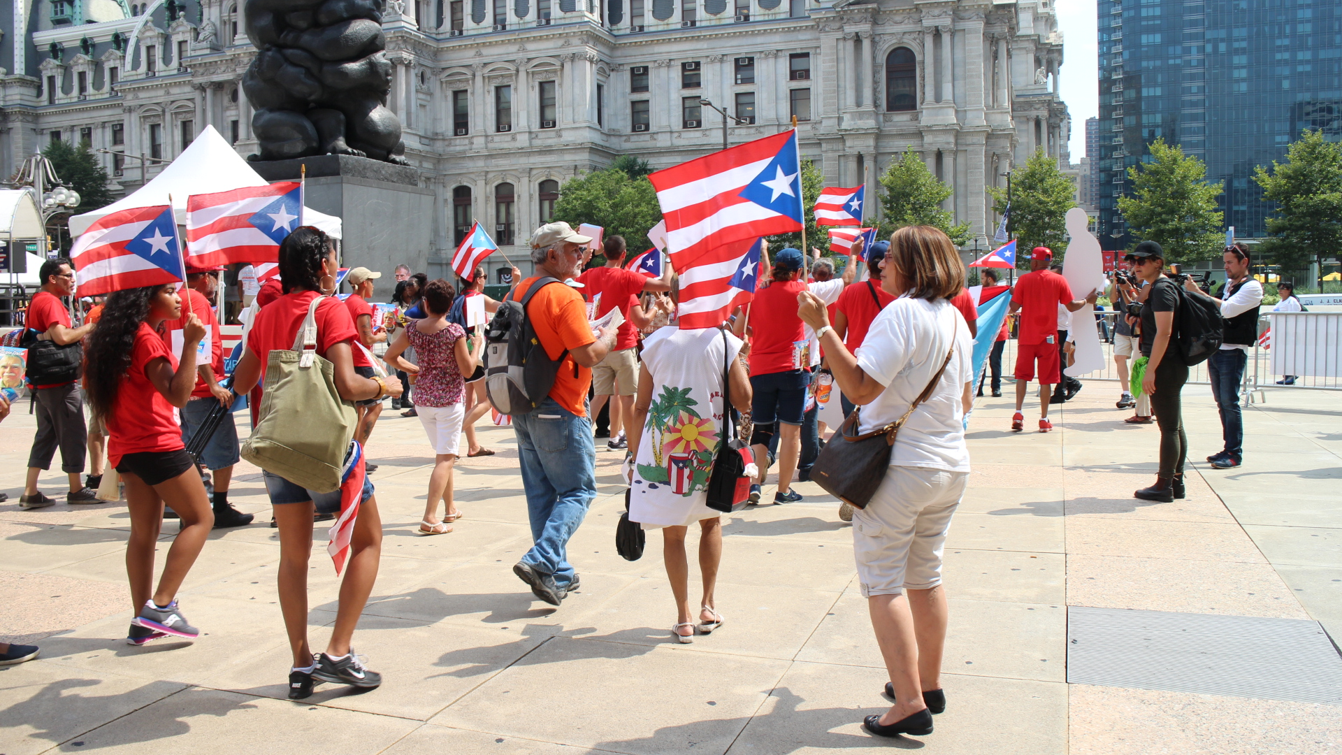 Puerto Ricans from across the country march near Philadelphia's city hall during the Democratic National Convention, July 25, 2016.