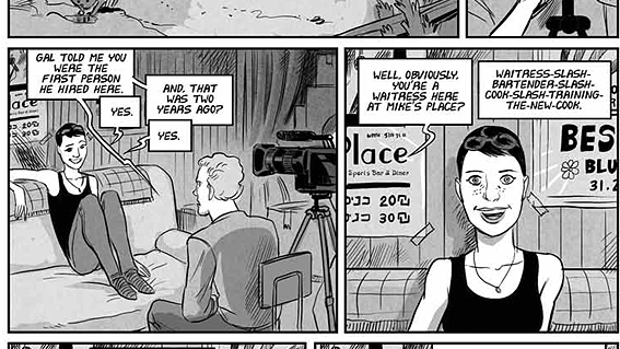 """A panel from the new graphic novel, """"Mike's Place: A True Story of Love, Blues, and Terror in Tel Aviv."""""""