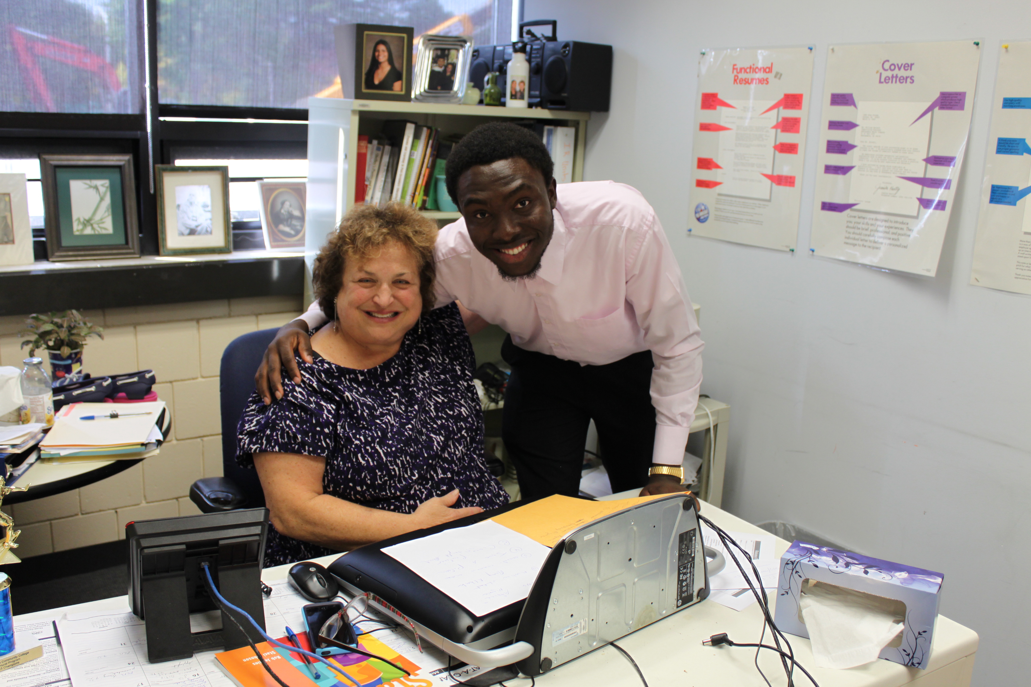 Ina Resnikoff, academic counsellor and learning specialist at North Shore Community College, with her student Osarumwense Agbonsalo, an immigrant from Nigeria