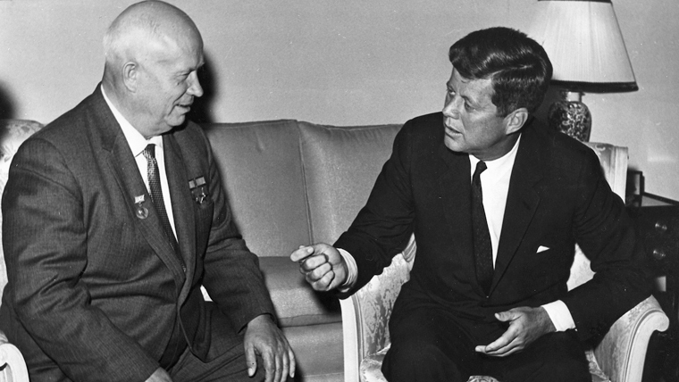 President Kennedy meets with Chairman Khrushchev at the US Embassy residence, Vienna.