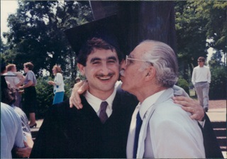 Karim Shamsi-Basha, who moved from Syria to attend the University of Tennessee in the 1980s, stands with his father, Kheridean Shamsi-Basha.